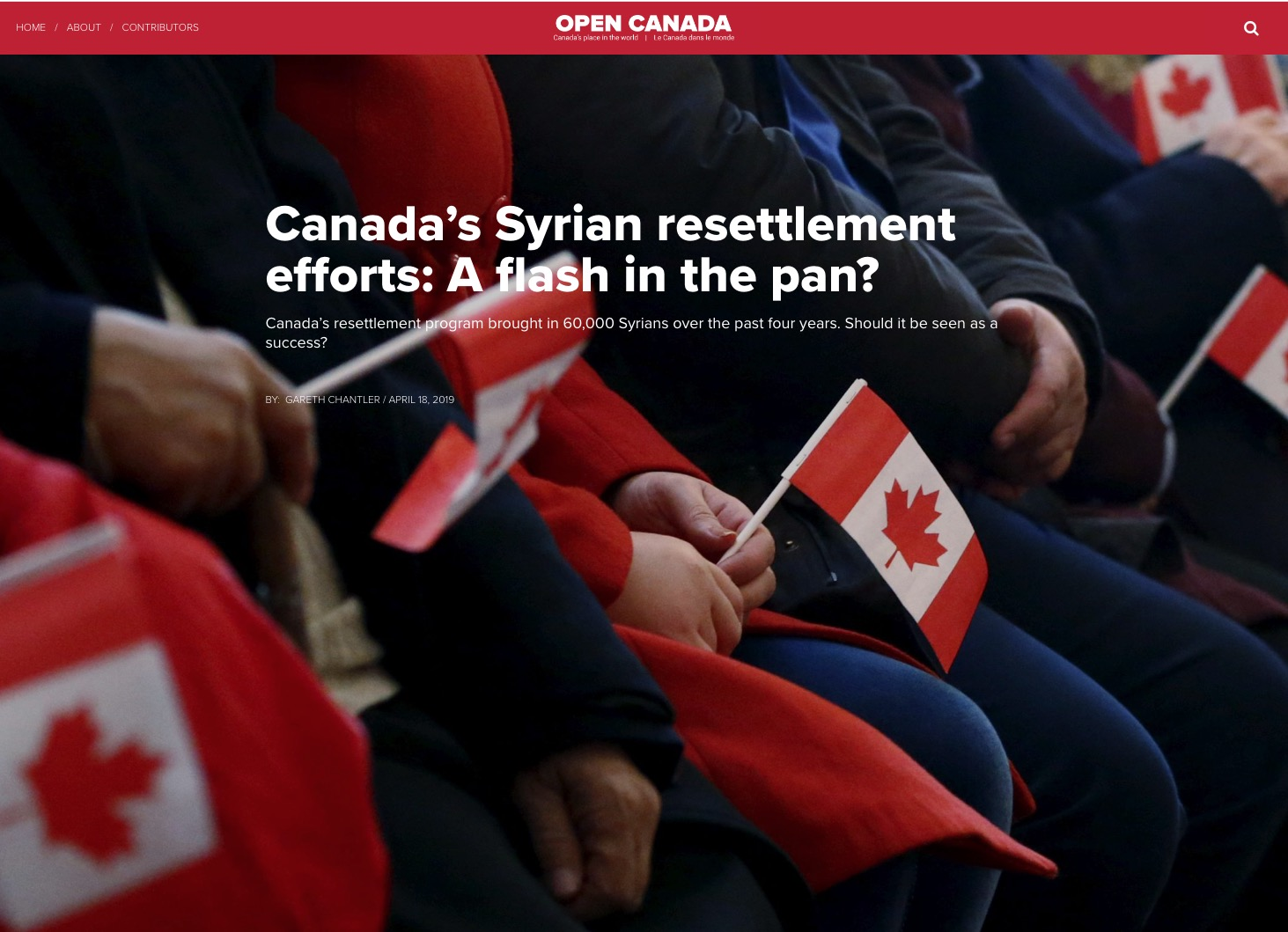 Jacqueline Swaisland – Canada's Syrian resettlement efforts: A flash in the pan?