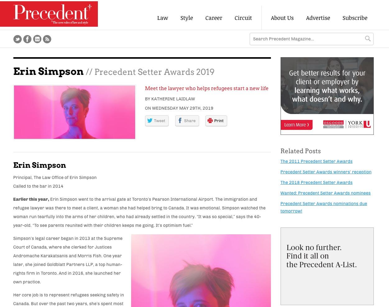 Erin Simpson – Precedent Setter Awards 2019
