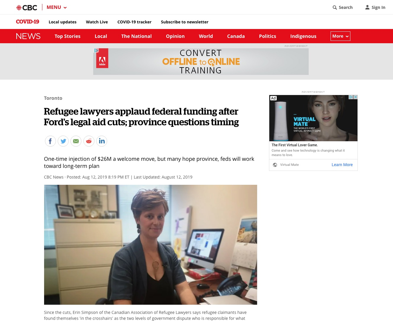 Erin Simpson – Refugee lawyers applaud federal funding after Ford's legal aid cuts