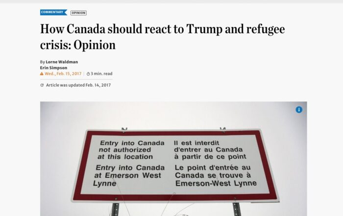 Erin Smpson – How Canada should react to Trump and refugee crisis