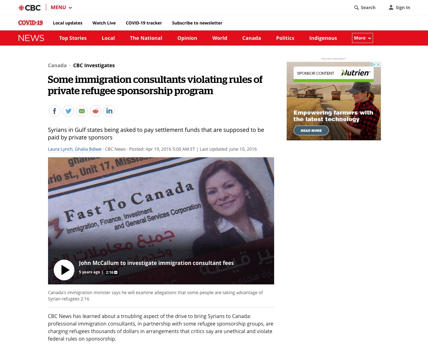 Jacqueline Swaisland – Immigration consultants violating rules of refugee sponsorship program