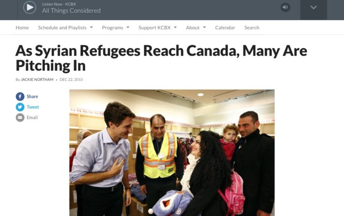 Jackie Swaisland – As Syrian Refugees Reach Canada, Many Are Pitching In