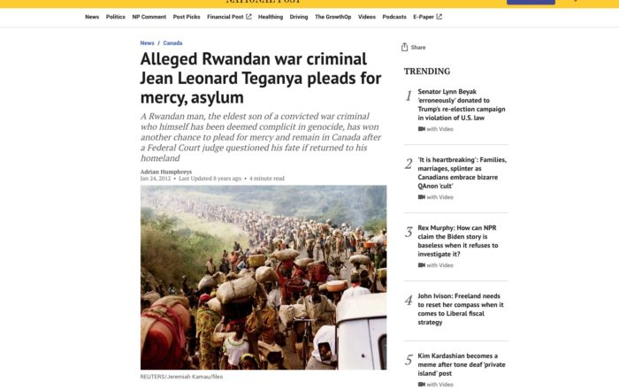 Jacqueline Swaisland – Alleged Rwandan war criminal Jean Leonard Teganya pleads for mercy, asylum