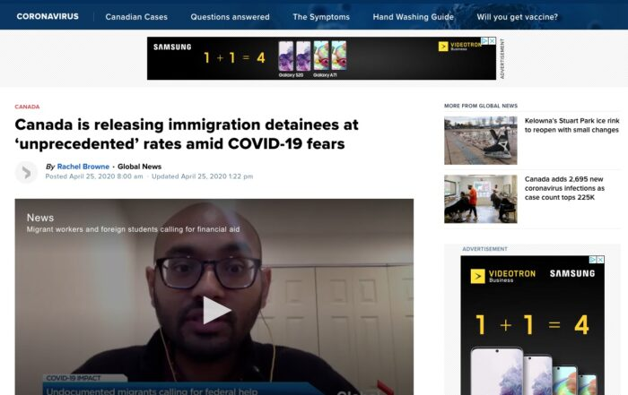 Jacqueline Swaisland – Canada releasing immigration detainees at 'unprecedented' rates amid COVID-19 fears
