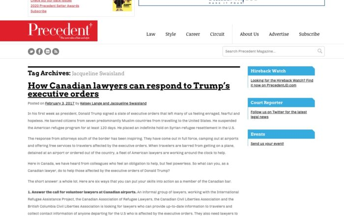 Jacqueline Swaisland – How Canadian lawyers can respond to Trump's executive orders