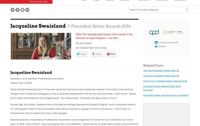 Jacqueline Swaisland – Precedent Setter Awards 2016
