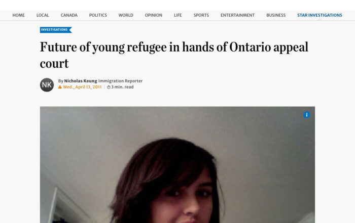 Jacqueline Swaisland – Future of young refugee in hands of Ontario appeal court