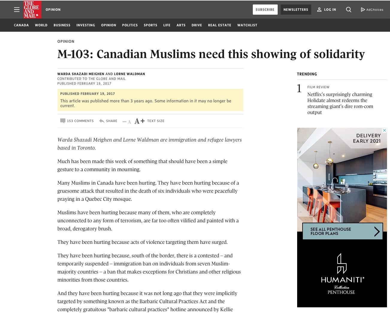 Warda Shazadi Meighen – M-103: Canadian Muslims need this showing of solidarity