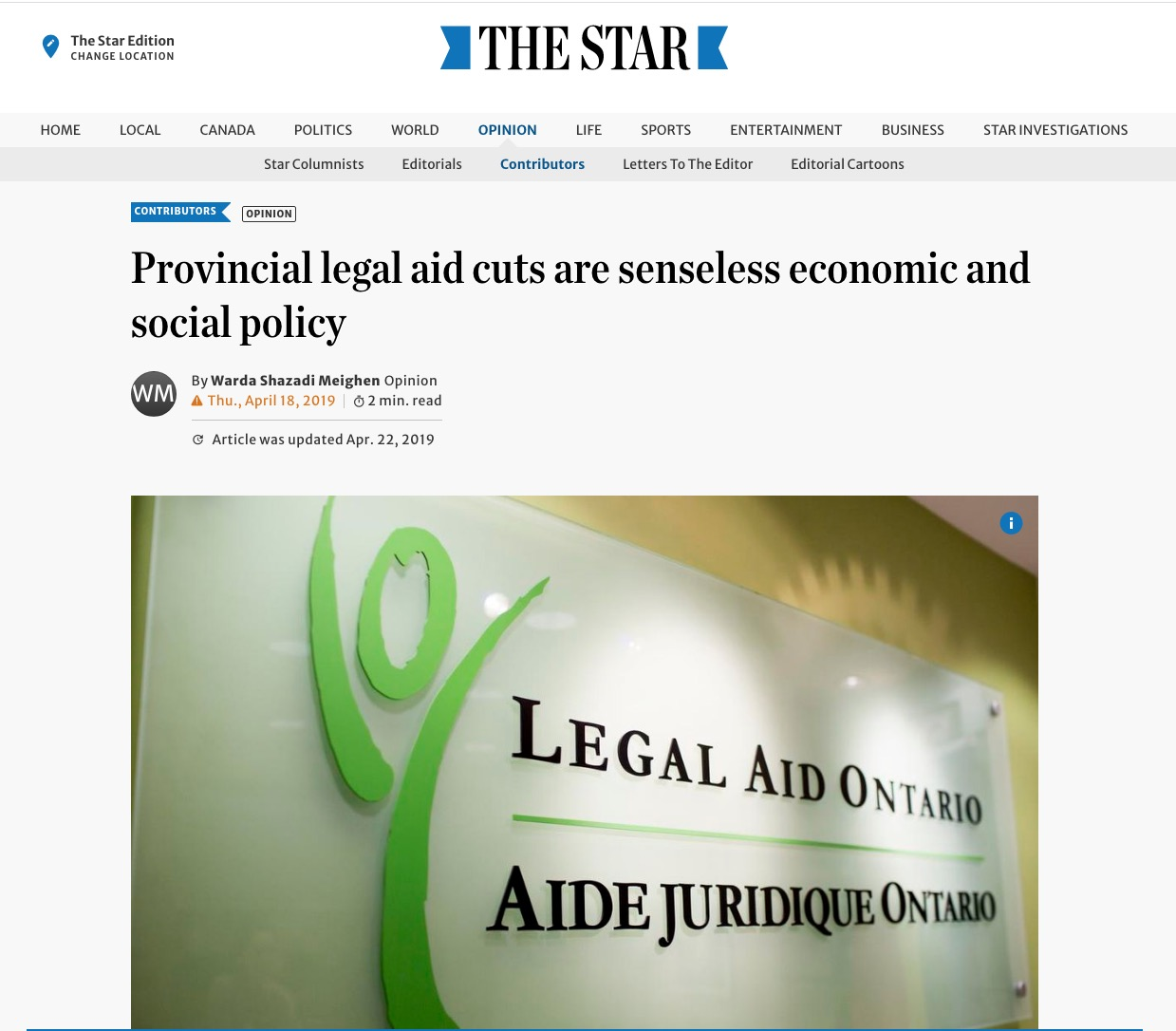 Warda Shazadi Meighen – Provincial legal aid cuts are senseless economic and social policy